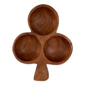 Vintage Clover Shaped Carved Wood Party Snack Tray